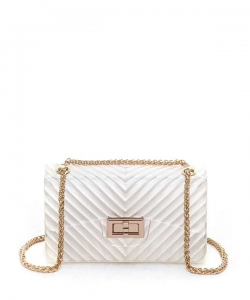 Chevron Embossed Jelly Small Classic Shoulder Bag 7063 CLEAR