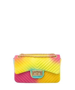 Tie Dye Colored Small Jelly Crossbody Bag 7065 RAINBOW 1