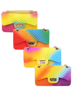 Package of 6 Pieces Tie Dye Colored Small Jelly Crossbody Bag 7065