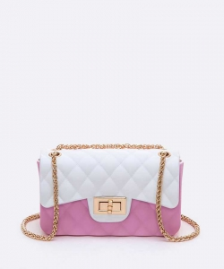 Small Jelly Shoulder Swing Bag 7077 PINK