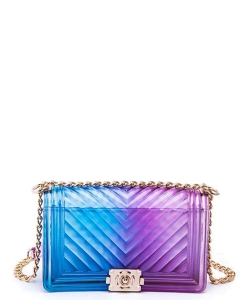 Chevron Embossed Iconic Jelly Bag 7079 BLUE/PURPLE