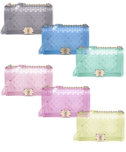 6 Pieces Stylish Diamond Pattern Tender Jelly Crossbody Bag 7080