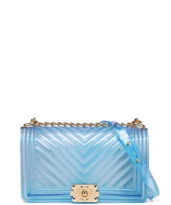 Translucent Embossed Jelly Crossbody Bag 7081 BLUE