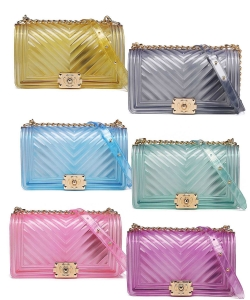 6 Pieces Translucent Embossed Jelly Crossbody Bag 7081