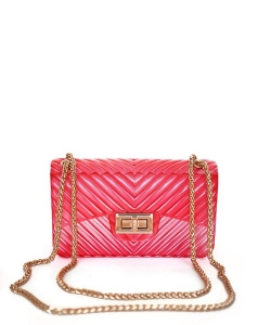 Chevron Embossed Small Jelly Crossbody Bag 7085 RED
