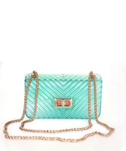 Chevron Embossed Small Jelly Crossbody Bag 7085 GREEN
