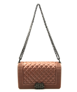 Quilted Stud Jelly Crossbody Bag 7131 ROSEGOLD
