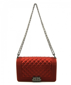 Quilted Stud Jelly Crossbody Bag 7131 RED