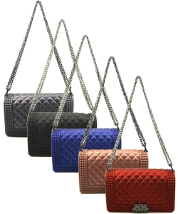 Package of 6 Pieces Quilted Stud Jelly Crossbody Bag 7131