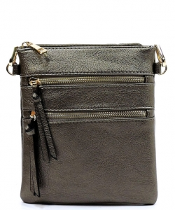 Functional Multi Pocket Crossbody Bag 80808A PEWTER