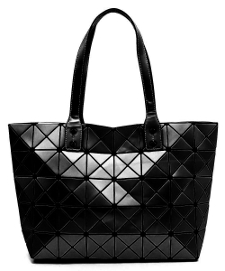 Matte Geometric Checkered Shopper A81063 BLACK