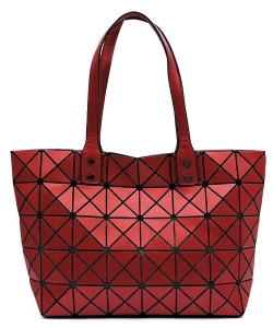Matte Geometric Checkered Shopper A81063 RED