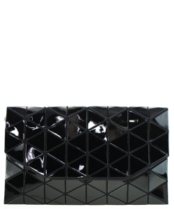 Geometric Checkered Clutch w strap 81064 Black
