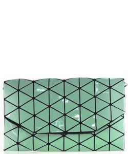 Geometric Checkered Clutch w strap 81064 Green