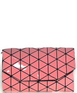 Geometric Checkered Clutch w strap 81064 Pink