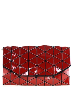 Geometric Checkered Clutch w strap 81064 Red