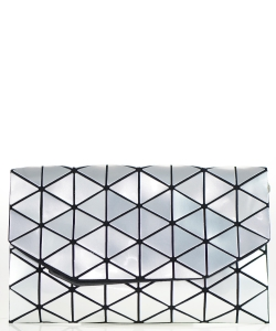 Geometric Checkered Clutch w strap 81064 Silver