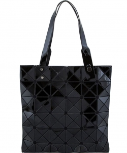 Matte Geometric Checkered Shopper A81065 BLACK