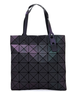 Matte Geometric Checkered Shopper A81065 LUMINOUS