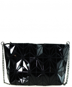 Geometric Checkered Clutch w strap 81066 BLACK