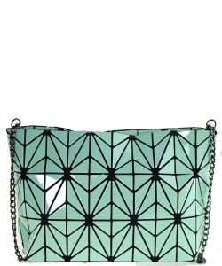 Geometric Checkered Clutch w strap 81066 GREEN