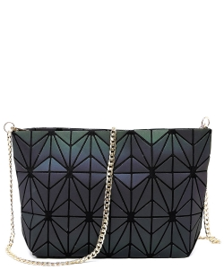 Geometric Checkered Clutch w strap 81066  LUMINOUS
