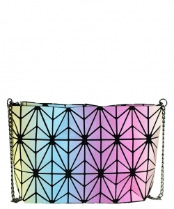 Geometric Checkered Clutch w strap 81066 MULTI