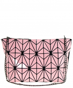 Geometric Checkered Clutch w strap 81066 Pink
