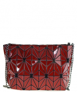 Geometric Checkered Clutch w strap 81066 RED