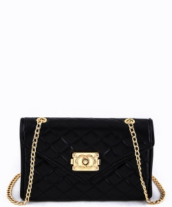 81107  Quilt Crossbody Purse Black