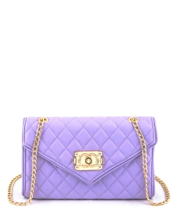 81107  Quilt Crossbody Purse Purple