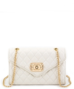 81107  Quilt Crossbody Purse White