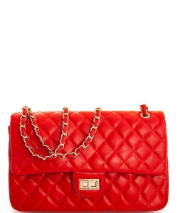 Quilted Mid Size Turn Lock Shoulder Bag 81112 RED  6501