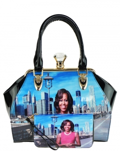 Magazine Combo Wallet Print Patent Shoulder Design Handbag Obama Combo