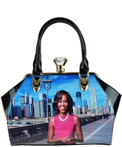 Magazine Print Patent Shoulder Design Handbag
