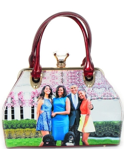 Michelle Obama Fashion Magazine Print Faux Patent Leather Handbag With Gold Embellishments  8162 RED