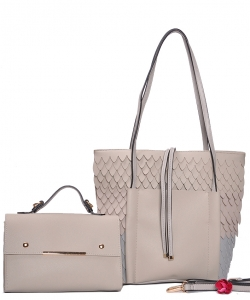 Two in One Tote Handbag Designer with Wallets 83223-1 BIEGE