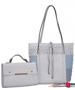 Two in One Tote Handbag Designer with Wallets 83223-1 LGREY