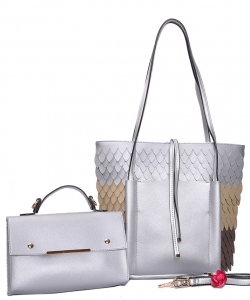 Two in One Tote Handbag Designer with Wallets 83223-1 SILVER