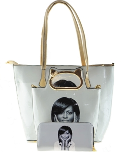3 in one Magazine Print Handbag 8600 BEIGE