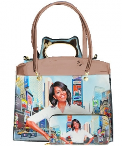 3 in one Fashion Magazine Print Faux Patent Leather Handbag With Gold Embellishments 8602 BEIGE