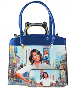 3 in one Fashion Magazine Print Faux Patent Leather Handbag With Gold Embellishments 8602 BLUE