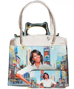3 in one Fashion Magazine Print Faux Patent Leather Handbag With Gold Embellishments 8602 SHELL