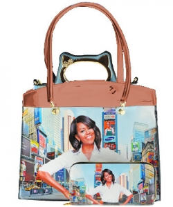 3 in one Fashion Magazine Print Faux Patent Leather Handbag With Gold Embellishments 8602 TAN