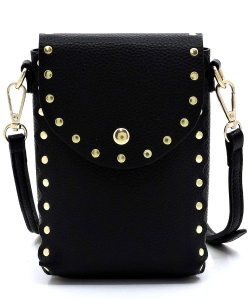 Fashion Studded Cell Phone Purse Crossbody Bag 87411 BLACK