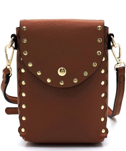 Fashion Studded Cell Phone Purse Crossbody Bag 87411 BROWN