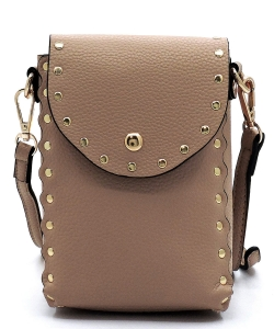 Fashion Studded Cell Phone Purse Crossbody Bag 87411 TAUPE