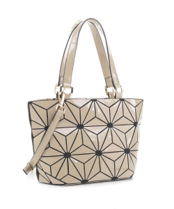 Geometric Patchwork Tote bag 87649 ALMOND