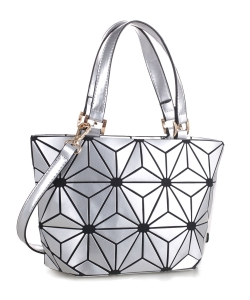 Geometric Patchwork Tote bag 87649 SILVER
