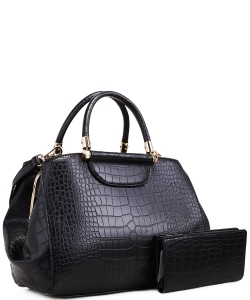 Alligator Print Soft Faux Leather Designer Tote Shop Handbag Shoulder Bag Purse with Matching Wallet 87754 BLACK